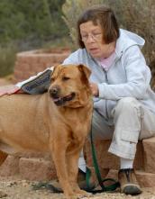 Actress Linda Hunt with dog named Huck