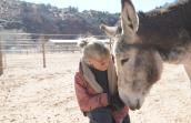 Speedy the mammoth donkey with Jackie